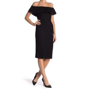 Love by Design Black Off-the-Shoulder Midi Dress